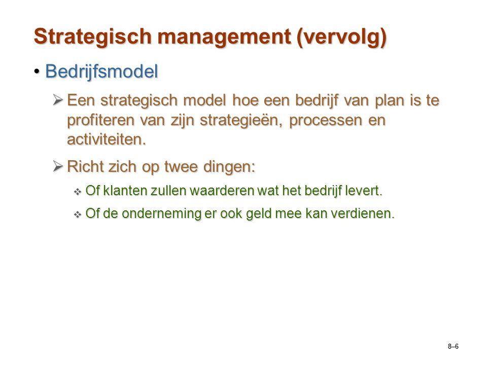 8–6 Strategisch management (vervolg) BedrijfsmodelBedrijfsmodel  Een strategisch model hoe een bedrijf van plan is te profiteren van zijn strategieën