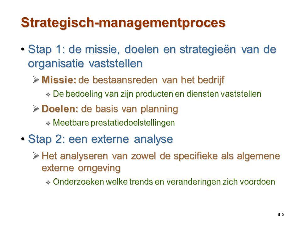 8–9 Strategisch-managementproces Stap 1: de missie, doelen en strategieën van de organisatie vaststellenStap 1: de missie, doelen en strategieën van d