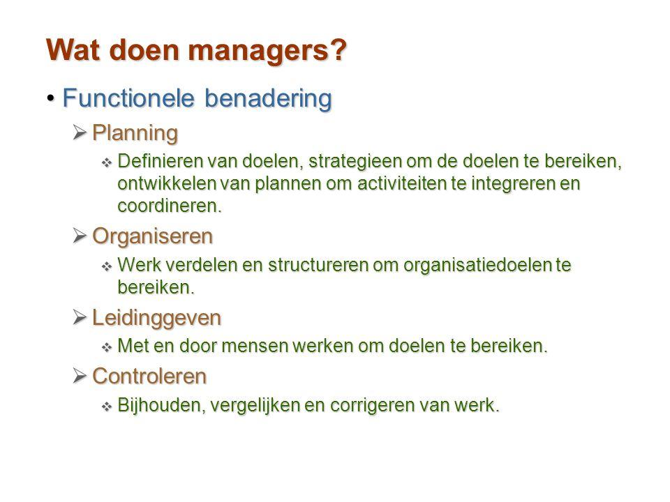 Wat doen managers? Functionele benaderingFunctionele benadering  Planning  Definieren van doelen, strategieen om de doelen te bereiken, ontwikkelen