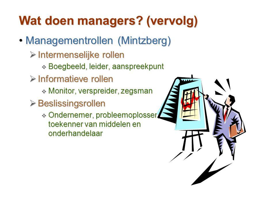Wat doen managers? (vervolg) Managementrollen (Mintzberg)Managementrollen (Mintzberg)  Intermenselijke rollen  Boegbeeld, leider, aanspreekpunt  In
