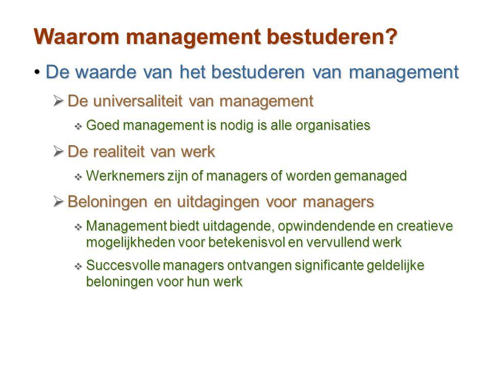 Waarom management bestuderen? De waarde van het bestuderen van managementDe waarde van het bestuderen van management  De universaliteit van managemen