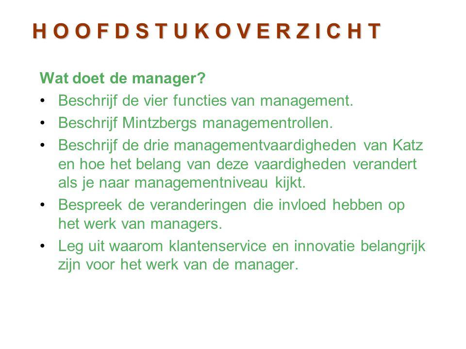Wat doet de manager? Beschrijf de vier functies van management. Beschrijf Mintzbergs managementrollen. Beschrijf de drie managementvaardigheden van Ka