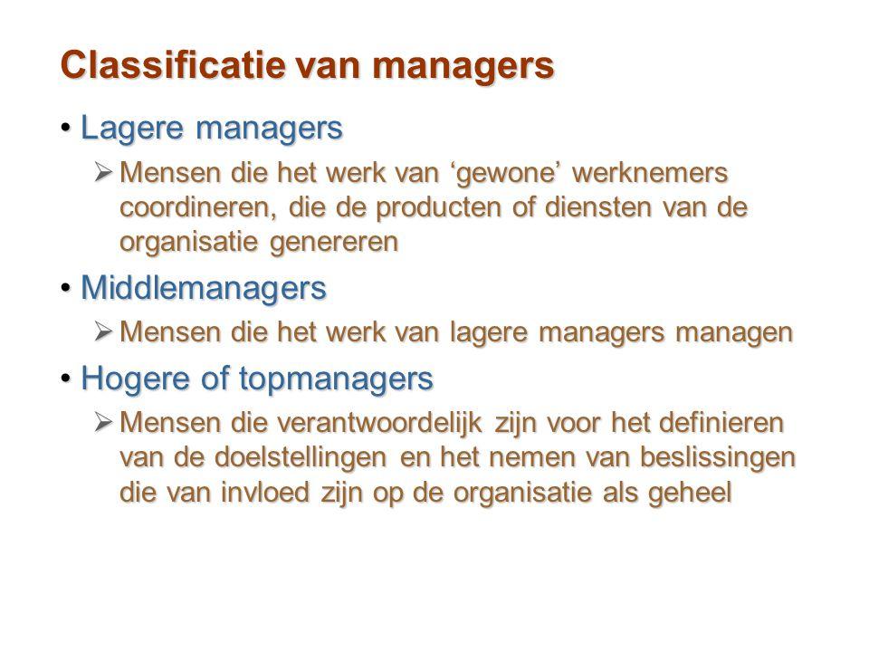 Classificatie van managers Lagere managersLagere managers  Mensen die het werk van 'gewone' werknemers coordineren, die de producten of diensten van