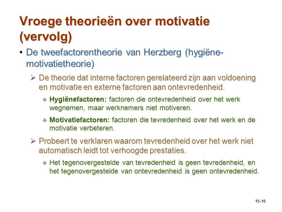 15–10 Vroege theorieën over motivatie (vervolg) De tweefactorentheorie van Herzberg (hygiëne- motivatietheorie)De tweefactorentheorie van Herzberg (hy