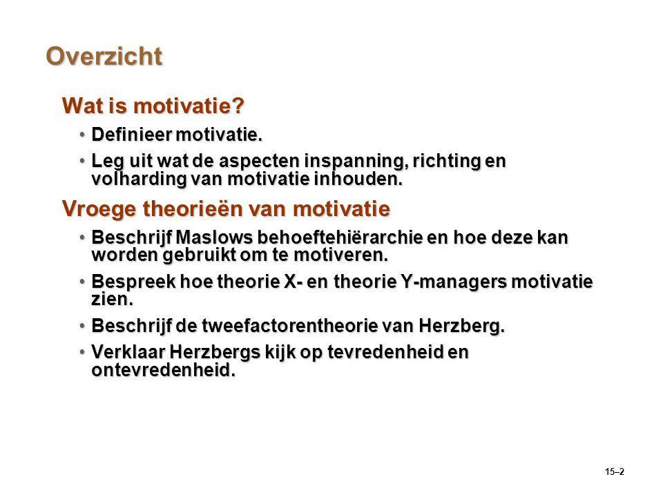15–2 Overzicht Wat is motivatie? Definieer motivatie.Definieer motivatie. Leg uit wat de aspecten inspanning, richting en volharding van motivatie inh