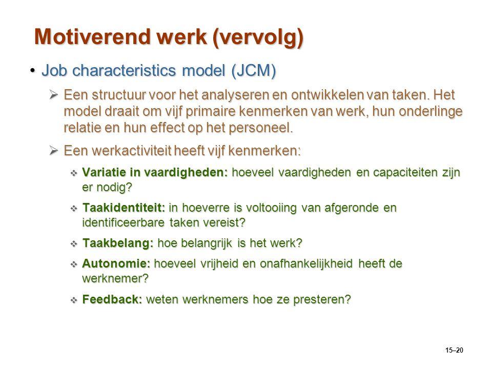 15–20 Motiverend werk (vervolg) Job characteristics model (JCM)Job characteristics model (JCM)  Een structuur voor het analyseren en ontwikkelen van