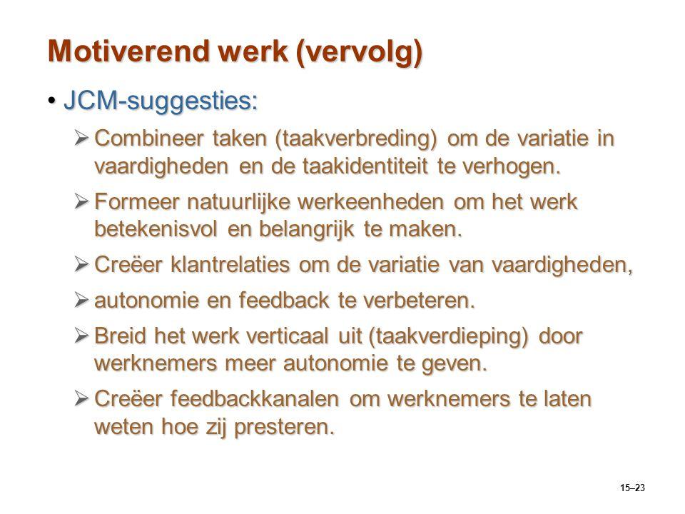 15–23 Motiverend werk (vervolg) JCM-suggesties:JCM-suggesties:  Combineer taken (taakverbreding) om de variatie in vaardigheden en de taakidentiteit