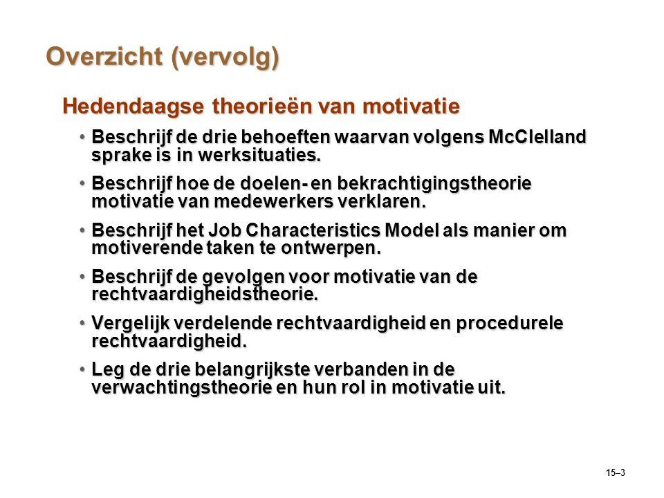 15–3 Overzicht (vervolg) Hedendaagse theorieën van motivatie Beschrijf de drie behoeften waarvan volgens McClelland sprake is in werksituaties.Beschri