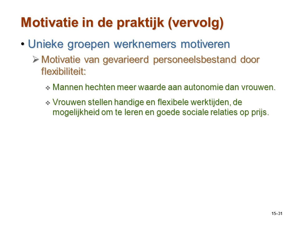 15–31 Motivatie in de praktijk (vervolg) Unieke groepen werknemers motiverenUnieke groepen werknemers motiveren  Motivatie van gevarieerd personeelsb