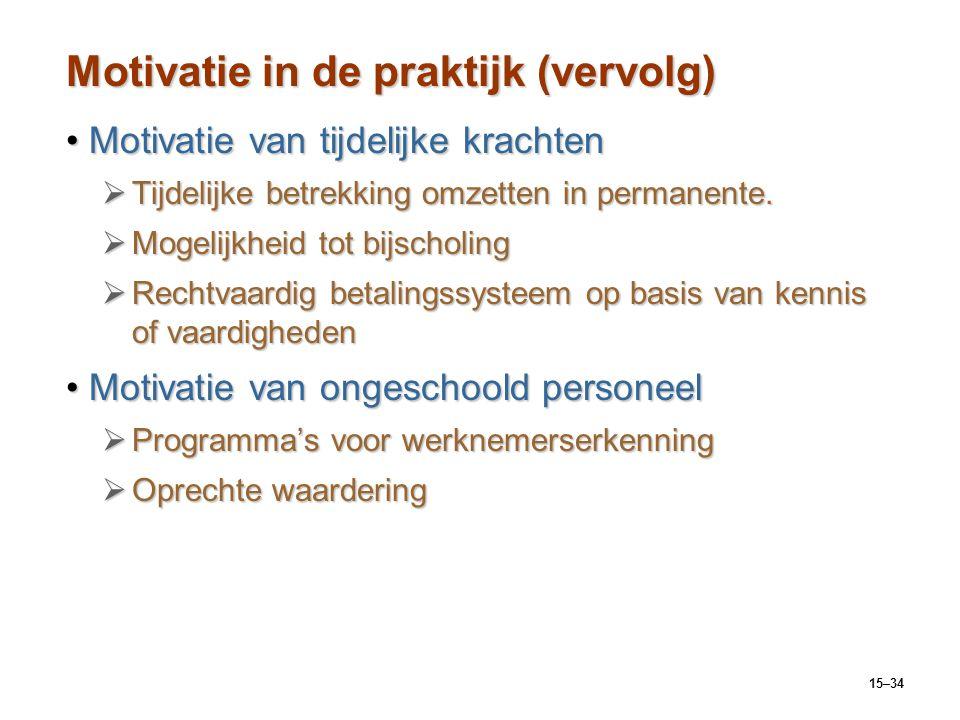 15–34 Motivatie in de praktijk (vervolg) Motivatie van tijdelijke krachtenMotivatie van tijdelijke krachten  Tijdelijke betrekking omzetten in perman