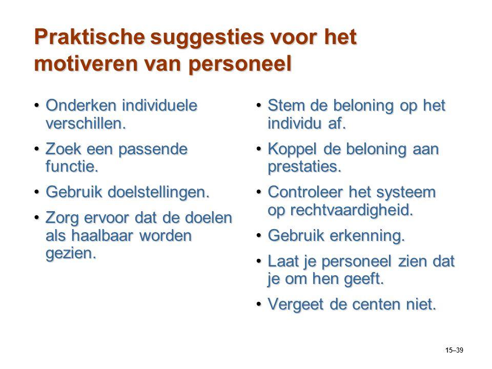 15–39 Praktische suggesties voor het motiveren van personeel Onderken individuele verschillen.Onderken individuele verschillen. Zoek een passende func