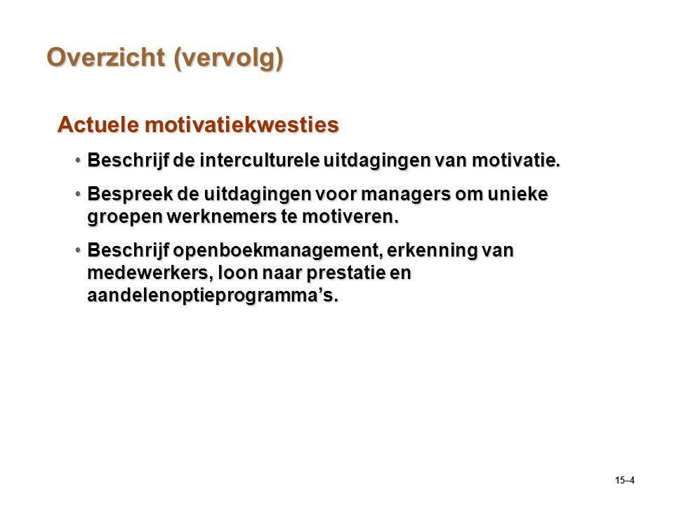 15–4 Overzicht (vervolg) Actuele motivatiekwesties Beschrijf de interculturele uitdagingen van motivatie.Beschrijf de interculturele uitdagingen van m