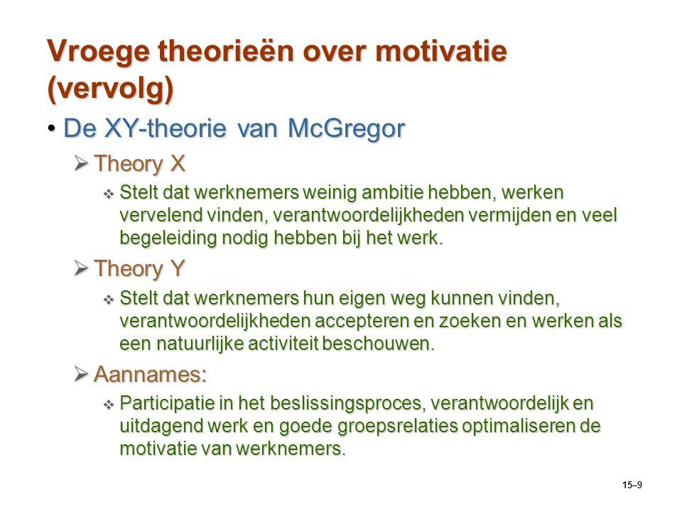 15–9 Vroege theorieën over motivatie (vervolg) De XY-theorie van McGregorDe XY-theorie van McGregor  Theory X  Stelt dat werknemers weinig ambitie h