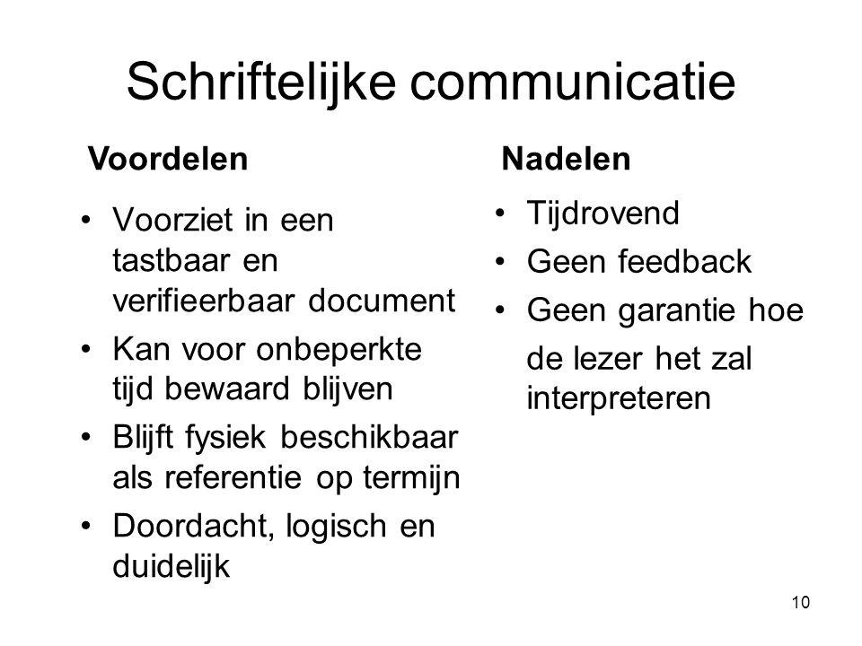 10 Schriftelijke communicatie Voorziet in een tastbaar en verifieerbaar document Kan voor onbeperkte tijd bewaard blijven Blijft fysiek beschikbaar al