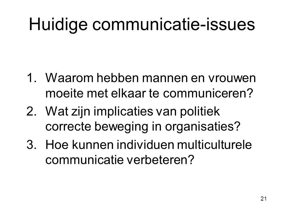 21 Huidige communicatie-issues 1.Waarom hebben mannen en vrouwen moeite met elkaar te communiceren? 2.Wat zijn implicaties van politiek correcte beweg