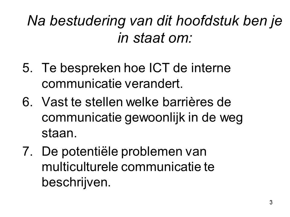 3 5.Te bespreken hoe ICT de interne communicatie verandert. 6.Vast te stellen welke barrières de communicatie gewoonlijk in de weg staan. 7.De potenti