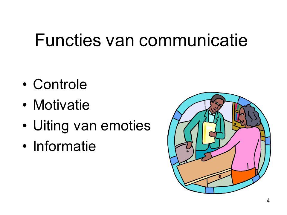 4 Functies van communicatie Controle Motivatie Uiting van emoties Informatie