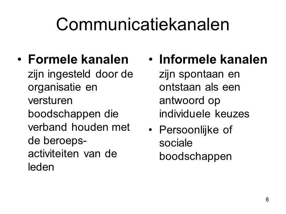 6 Communicatiekanalen Formele kanalen zijn ingesteld door de organisatie en versturen boodschappen die verband houden met de beroeps- activiteiten van