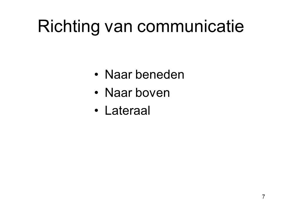 7 Richting van communicatie Naar beneden Naar boven Lateraal