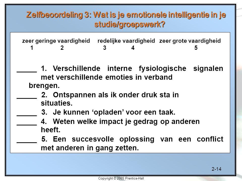 2-14 Copyright © 2005 Prentice-Hall Zelfbeoordeling 3: Wat is je emotionele intelligentie in je studie/groepswerk? _____ 1. Verschillende interne fysi