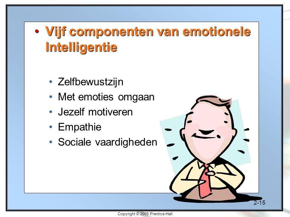 2-15 Copyright © 2005 Prentice-Hall Vijf componenten van emotionele IntelligentieVijf componenten van emotionele Intelligentie Zelfbewustzijn Met emot