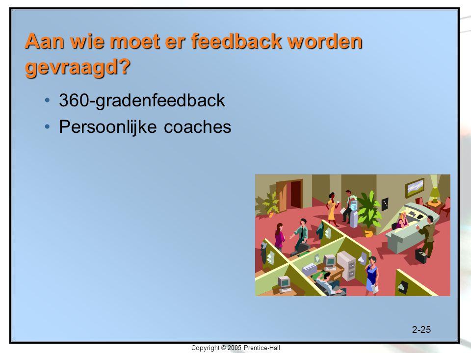 2-25 Copyright © 2005 Prentice-Hall 360-gradenfeedback Persoonlijke coaches Aan wie moet er feedback worden gevraagd?
