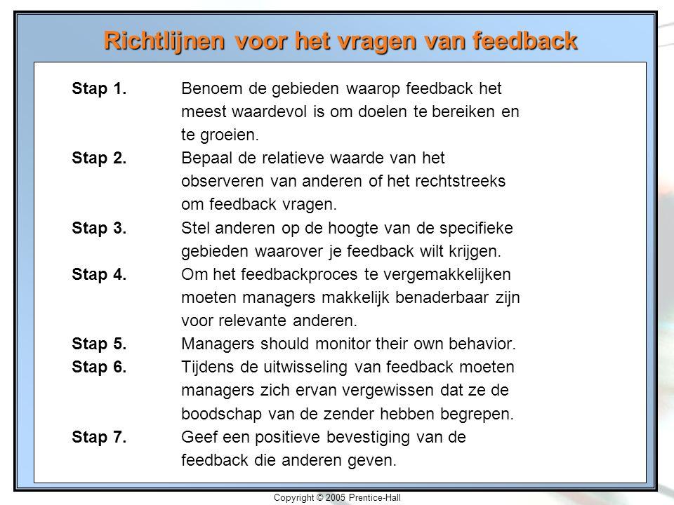 2-26 Copyright © 2005 Prentice-Hall Richtlijnen voor het vragen van feedback Stap 1.Benoem de gebieden waarop feedback het meest waardevol is om doele