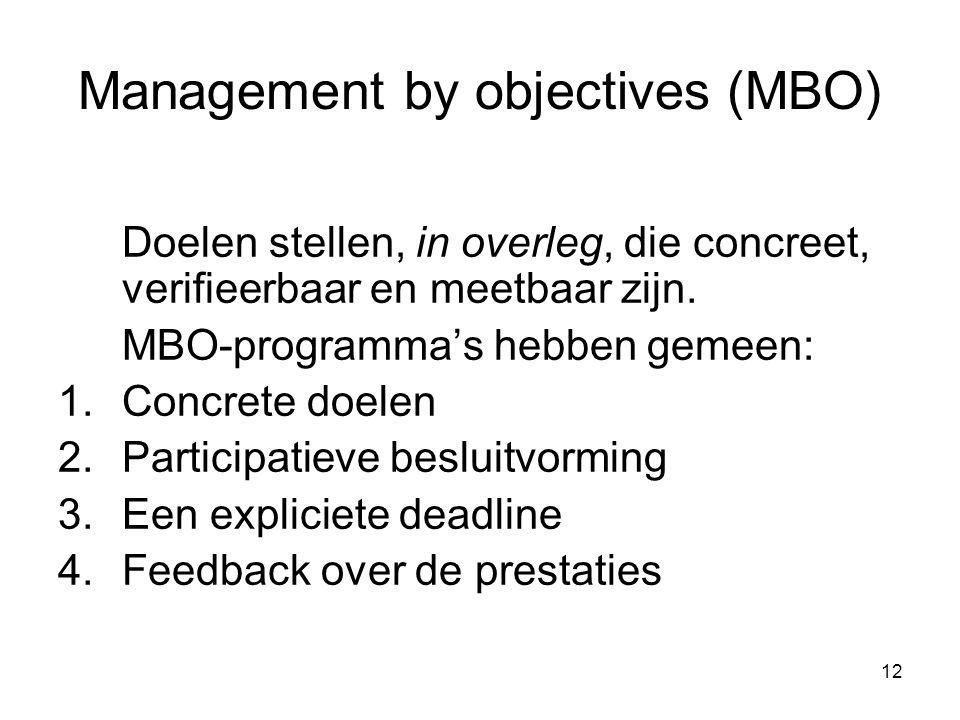 12 Management by objectives (MBO) Doelen stellen, in overleg, die concreet, verifieerbaar en meetbaar zijn. MBO-programma's hebben gemeen: 1.Concrete