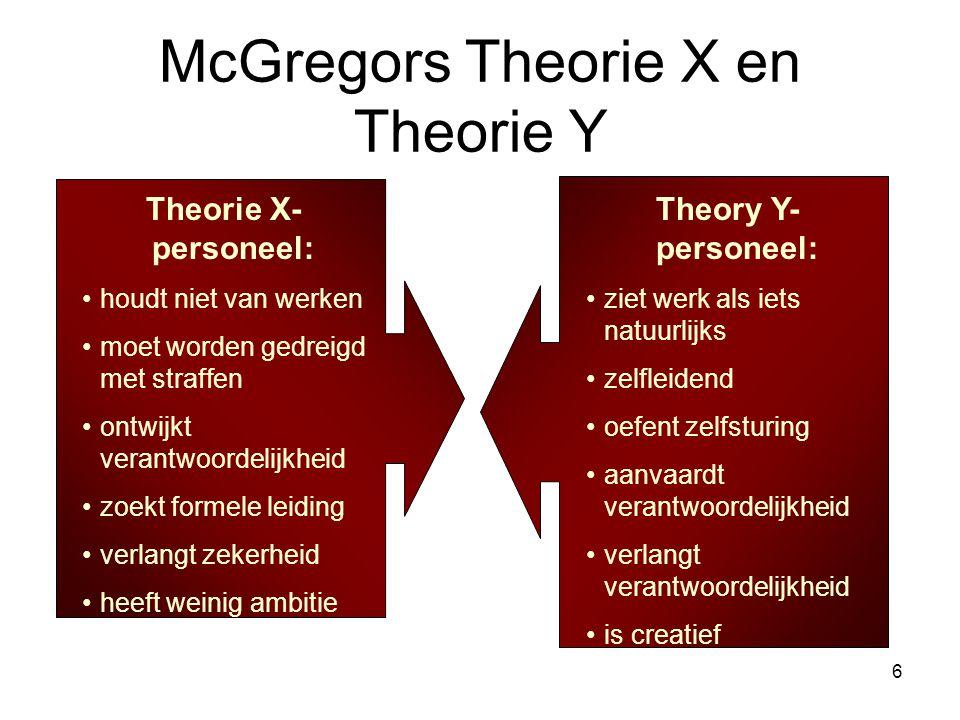 6 McGregors Theorie X en Theorie Y Theorie X- personeel: houdt niet van werken moet worden gedreigd met straffen ontwijkt verantwoordelijkheid zoekt f