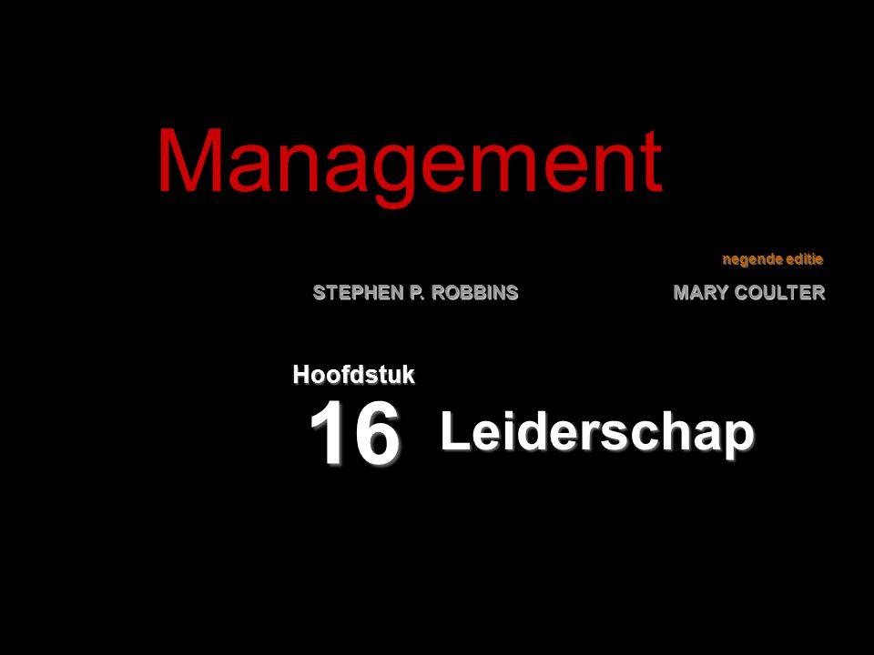 16–12 De leiderschapsmatrix De leiderschapsmatrixDe leiderschapsmatrix  Tweedimensionaal raster voor het beoordelen van stijlen van leiderschap:  Zorg voor mensen  Zorg voor productie  Vijf categorieën voor managementstijlen:  Verschraald management  Taakgericht management  Doorsneemanagement  Ontspannen management  Teamgericht management