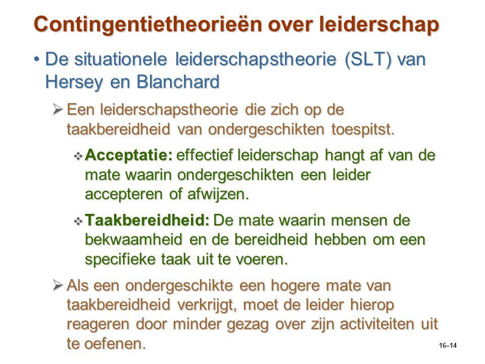 16–14 Contingentietheorieën over leiderschap De situationele leiderschapstheorie (SLT) van Hersey en BlanchardDe situationele leiderschapstheorie (SLT