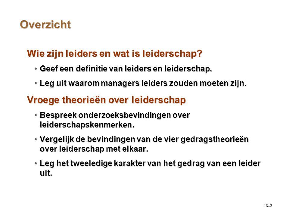 16–2 Overzicht Wie zijn leiders en wat is leiderschap? Geef een definitie van leiders en leiderschap.Geef een definitie van leiders en leiderschap. Le