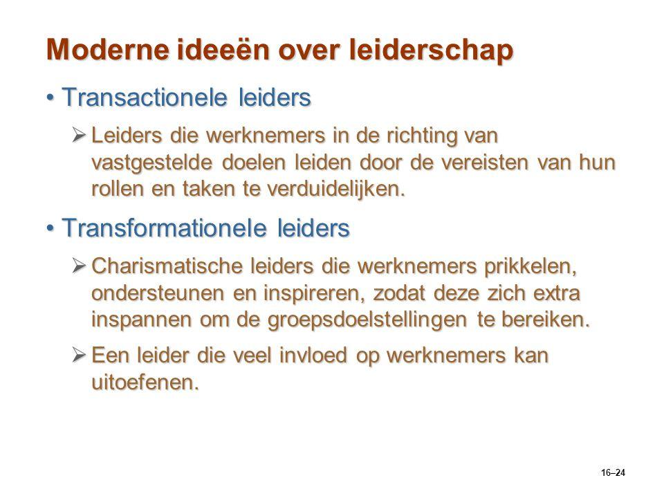 16–24 Moderne ideeën over leiderschap Transactionele leidersTransactionele leiders  Leiders die werknemers in de richting van vastgestelde doelen lei