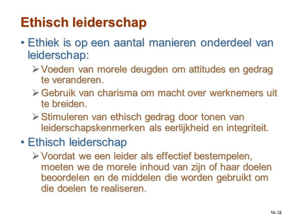 16–32 Ethisch leiderschap Ethiek is op een aantal manieren onderdeel van leiderschap:Ethiek is op een aantal manieren onderdeel van leiderschap:  Voe