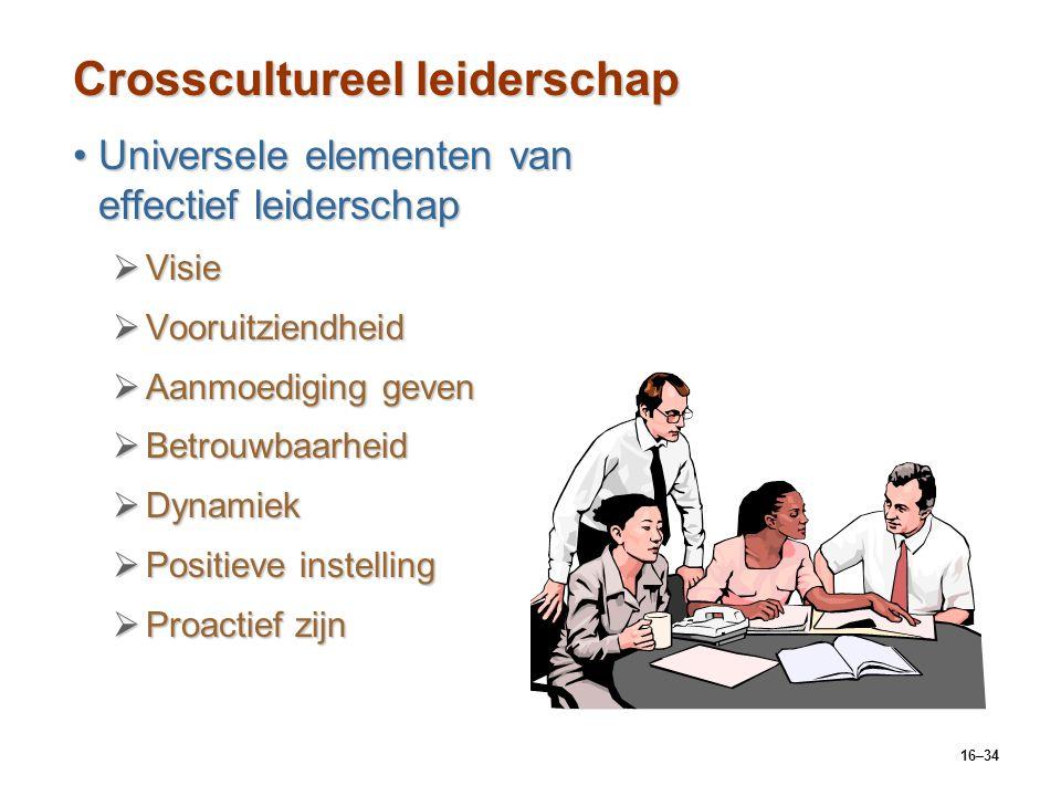 16–34 Crosscultureel leiderschap Universele elementen van effectief leiderschapUniversele elementen van effectief leiderschap  Visie  Vooruitziendhe