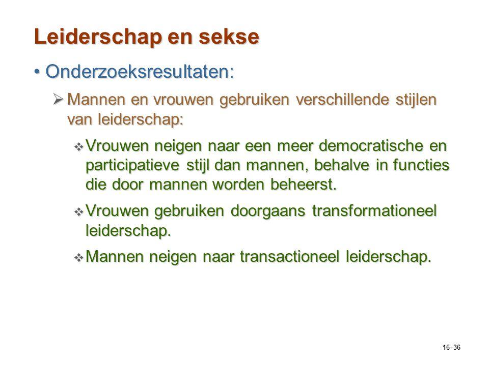 16–36 Leiderschap en sekse Onderzoeksresultaten:Onderzoeksresultaten:  Mannen en vrouwen gebruiken verschillende stijlen van leiderschap:  Vrouwen n