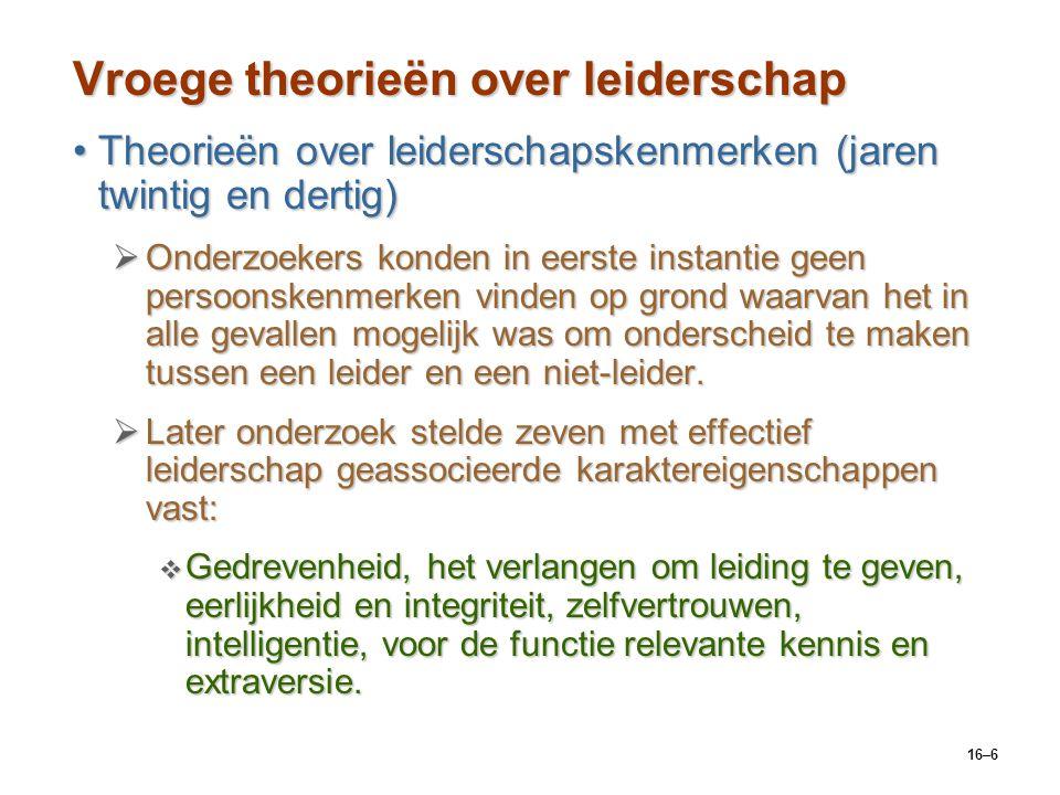 16–6 Vroege theorieën over leiderschap Theorieën over leiderschapskenmerken (jaren twintig en dertig)Theorieën over leiderschapskenmerken (jaren twint