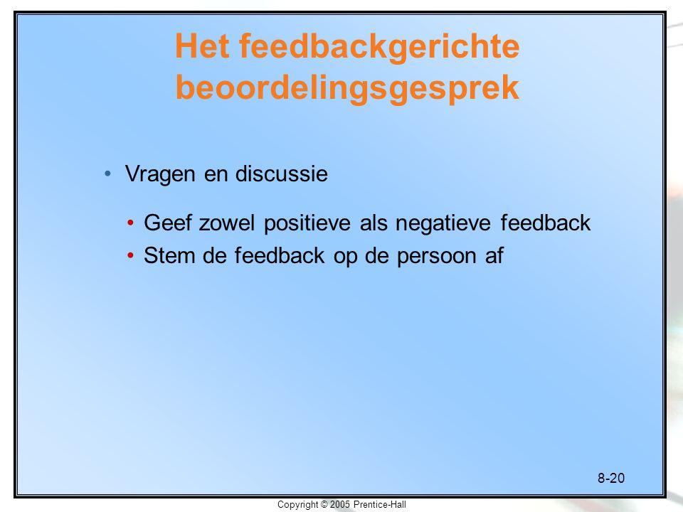 8-20 Copyright © 2005 Prentice-Hall Geef zowel positieve als negatieve feedback Stem de feedback op de persoon af Het feedbackgerichte beoordelingsges