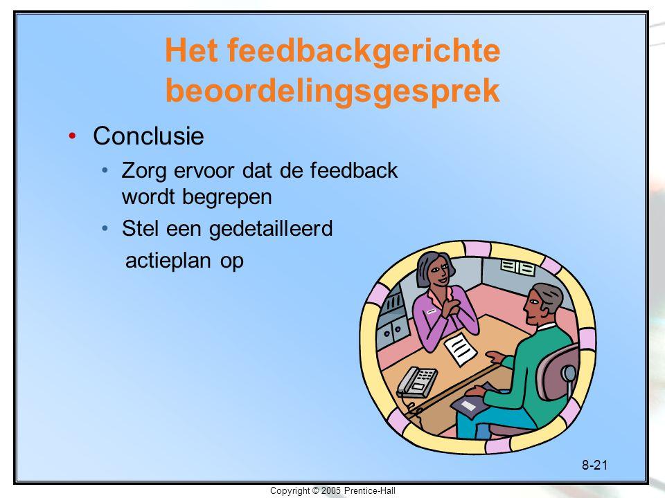 8-21 Copyright © 2005 Prentice-Hall Het feedbackgerichte beoordelingsgesprek Conclusie Zorg ervoor dat de feedback wordt begrepen Stel een gedetaillee