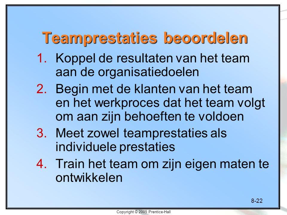 8-22 Copyright © 2005 Prentice-Hall Teamprestaties beoordelen 1.Koppel de resultaten van het team aan de organisatiedoelen 2.Begin met de klanten van