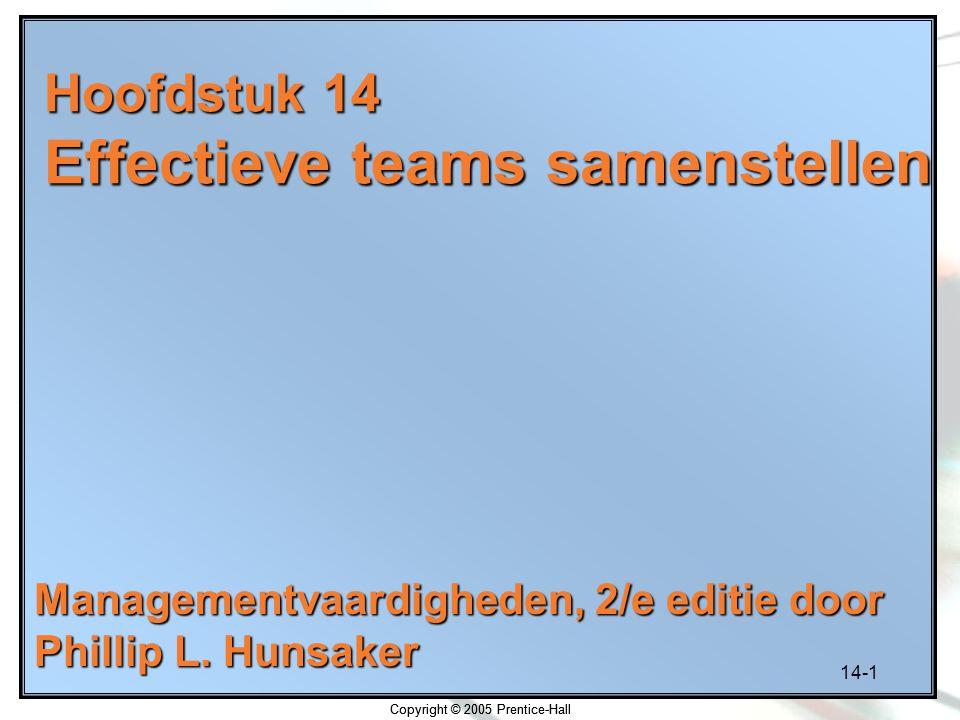 14-1 Copyright © 2005 Prentice-Hall Hoofdstuk 14 Effectieve teams samenstellen Managementvaardigheden, 2/e editie door Phillip L. Hunsaker Copyright ©