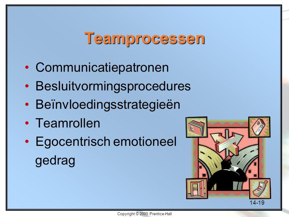 14-19 Copyright © 2005 Prentice-Hall Teamprocessen Communicatiepatronen Besluitvormingsprocedures Beïnvloedingsstrategieën Teamrollen Egocentrisch emo