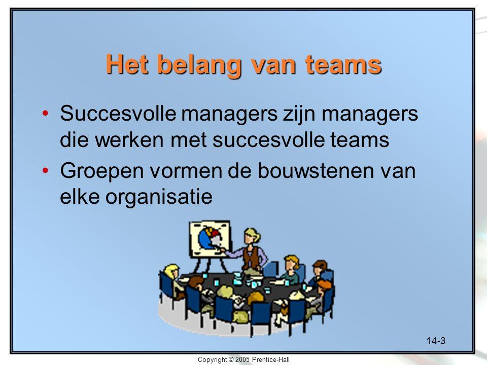 14-3 Copyright © 2005 Prentice-Hall Het belang van teams Succesvolle managers zijn managers die werken met succesvolle teams Groepen vormen de bouwste