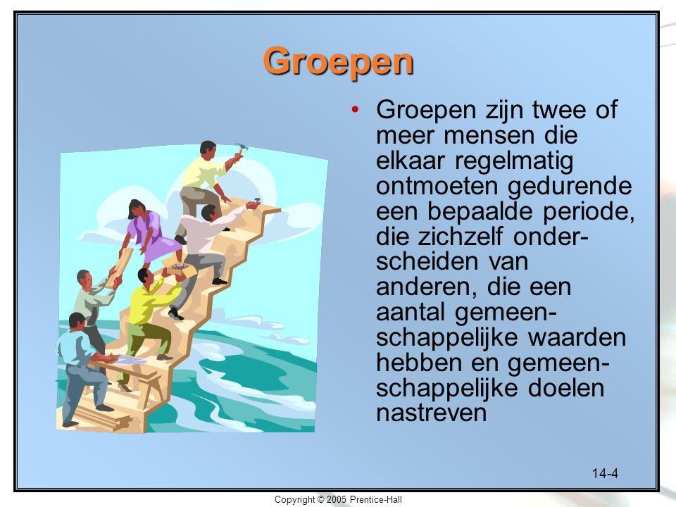 14-4 Copyright © 2005 Prentice-Hall Groepen Groepen zijn twee of meer mensen die elkaar regelmatig ontmoeten gedurende een bepaalde periode, die zichz