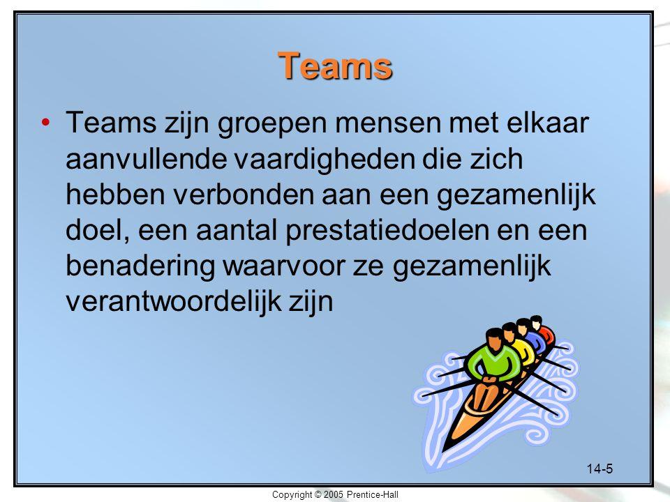 14-5 Copyright © 2005 Prentice-Hall Teams Teams zijn groepen mensen met elkaar aanvullende vaardigheden die zich hebben verbonden aan een gezamenlijk