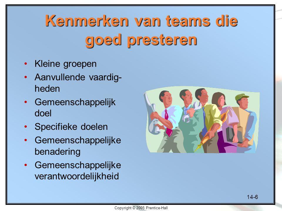 14-6 Copyright © 2005 Prentice-Hall Kenmerken van teams die goed presteren Kleine groepen Aanvullende vaardig- heden Gemeenschappelijk doel Specifieke