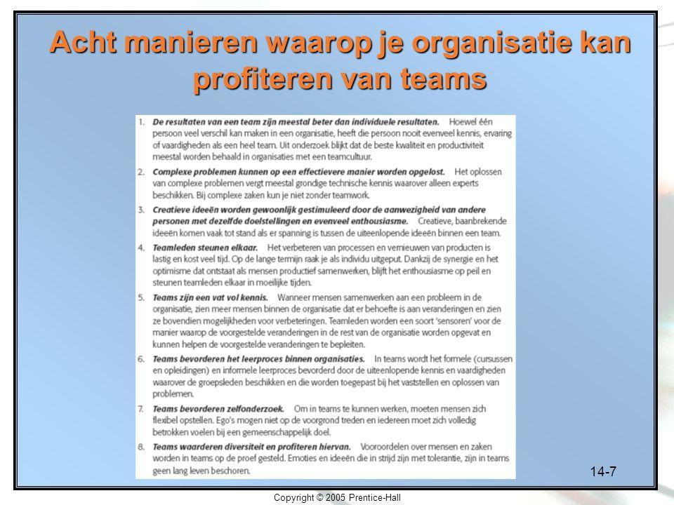 14-7 Copyright © 2005 Prentice-Hall Acht manieren waarop je organisatie kan profiteren van teams