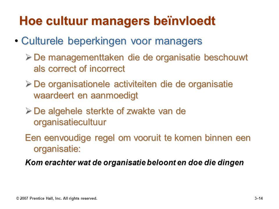 © 2007 Prentice Hall, Inc. All rights reserved.3–14 Hoe cultuur managers beïnvloedt Culturele beperkingen voor managersCulturele beperkingen voor mana