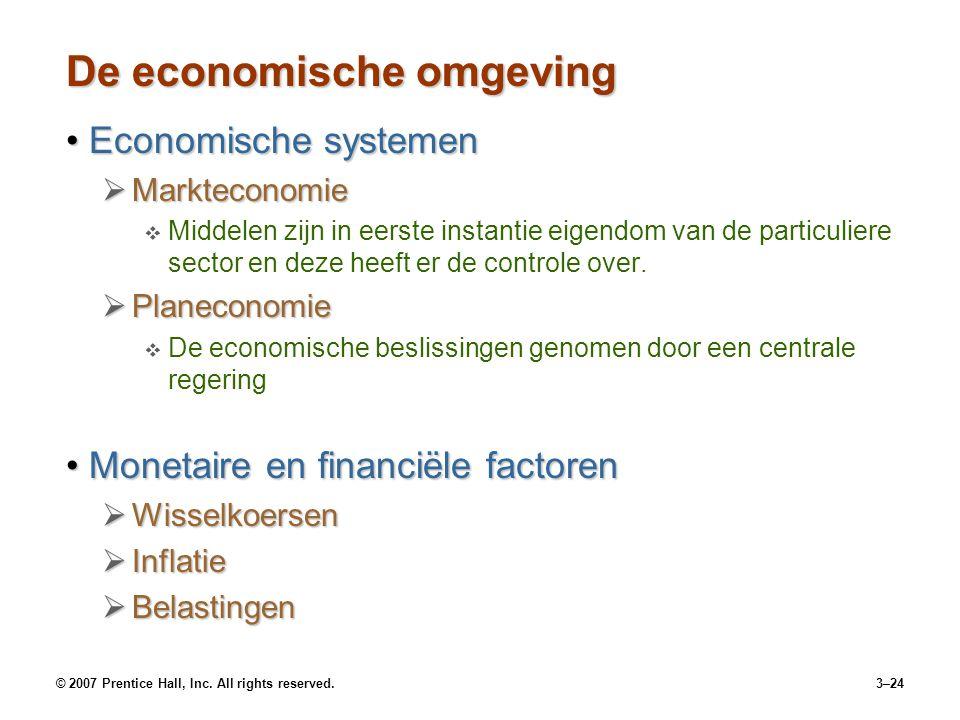 © 2007 Prentice Hall, Inc. All rights reserved.3–24 De economische omgeving Economische systemenEconomische systemen  Markteconomie   Middelen zijn