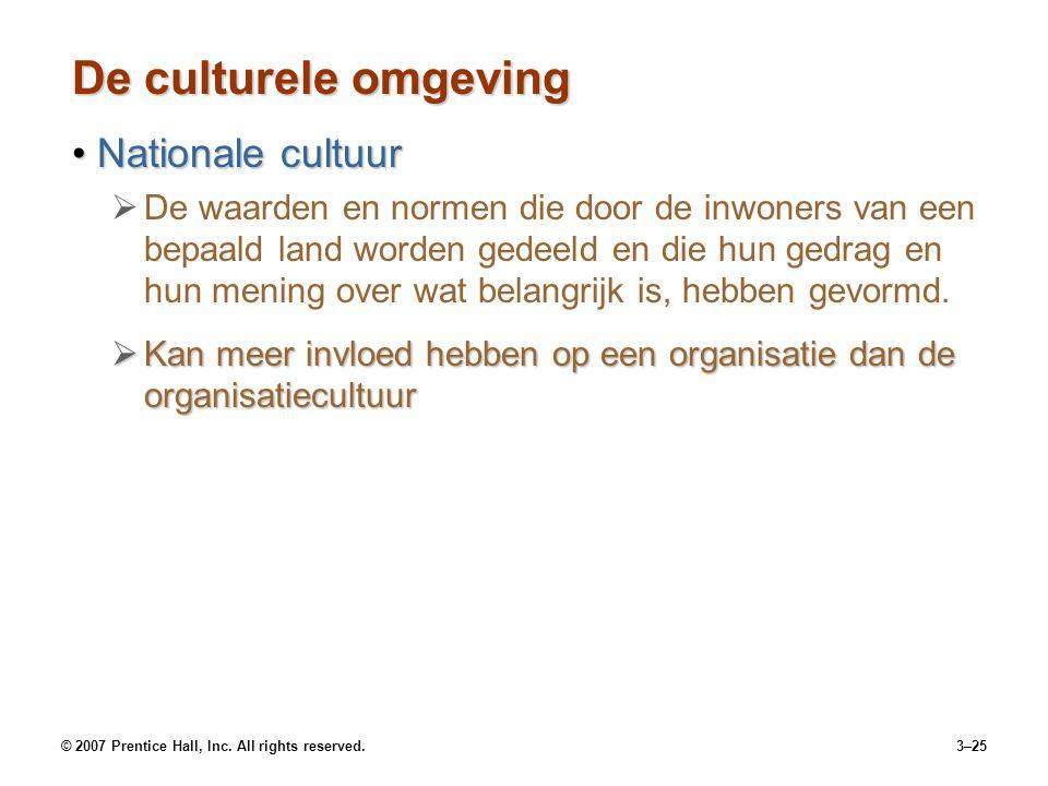 © 2007 Prentice Hall, Inc. All rights reserved.3–25 De culturele omgeving Nationale cultuurNationale cultuur   De waarden en normen die door de inwo